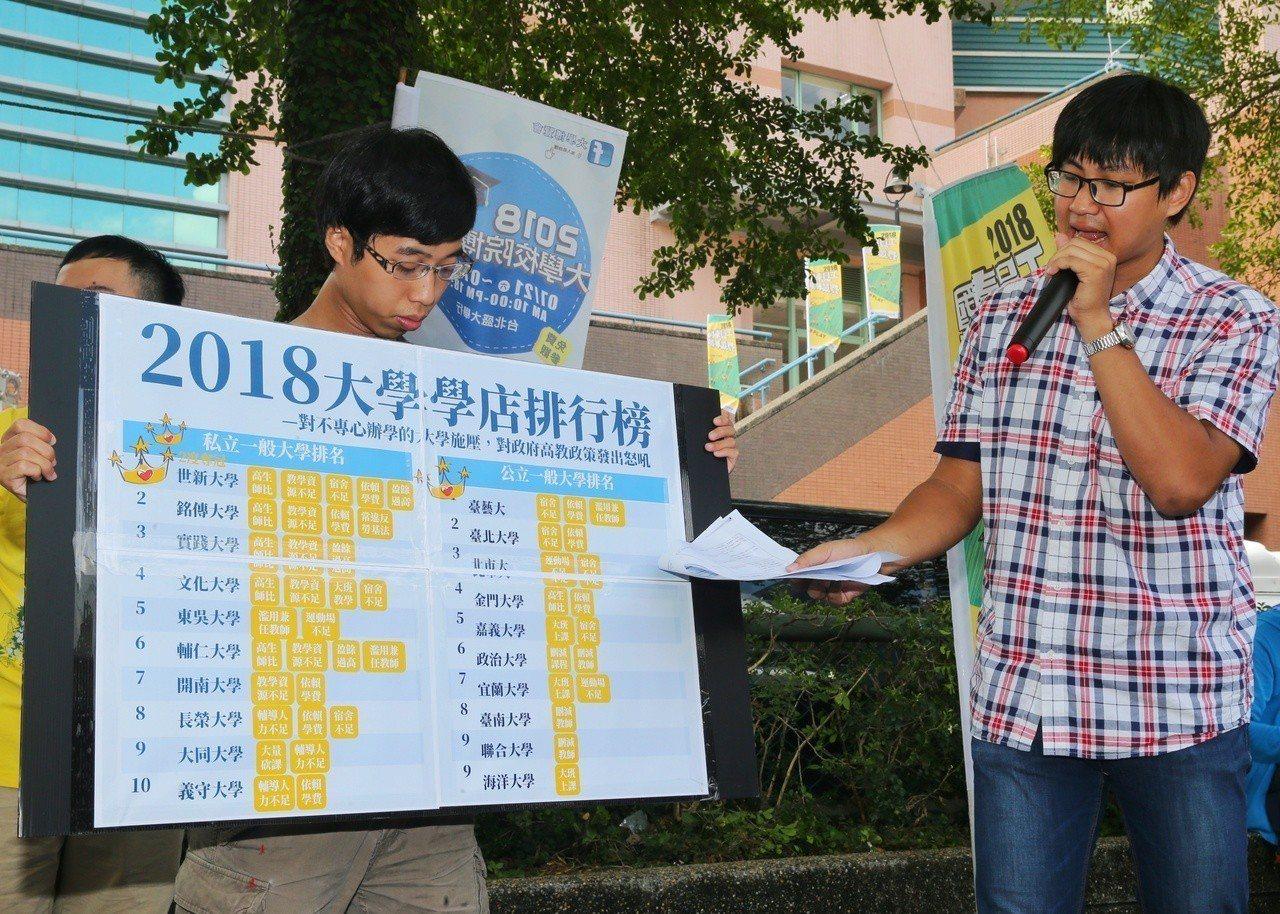 學權團體在校外抗議,並公布「學店名單」。記者鄭清元/攝影