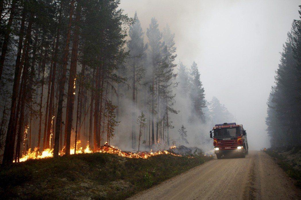 今年7月中旬發生的瑞典森林大火。 圖/歐新社