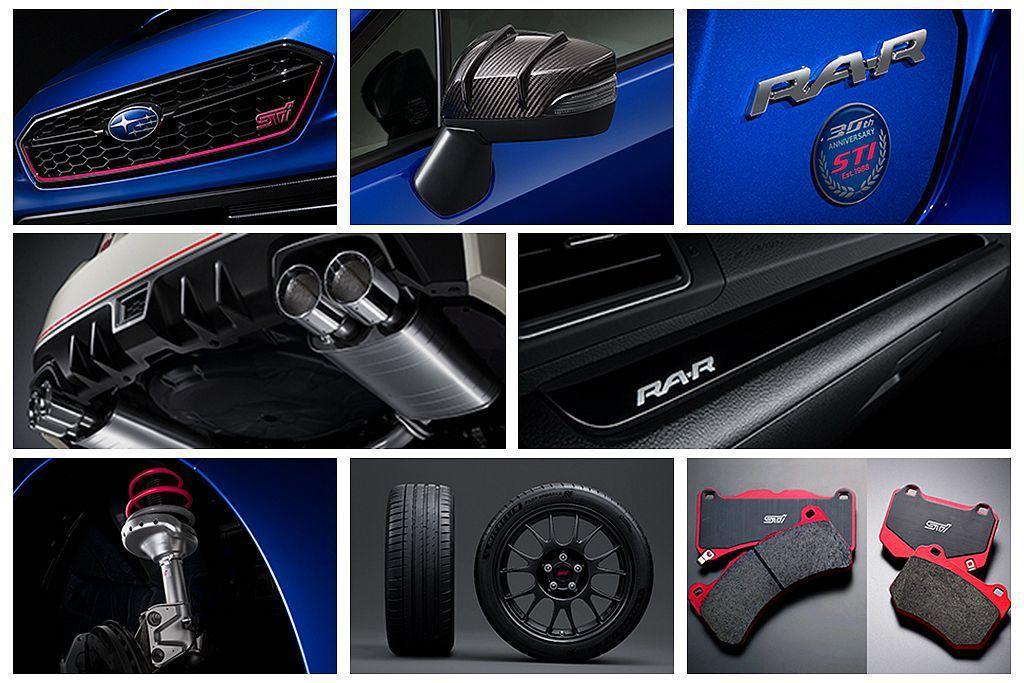 Subaru WRX STI Type RA-R好料全數用盡,包括倒叉減震筒、新排氣系統、STI高性能煞車來令片、米其林Pilot Sport 4S輪胎等。 圖/Subaru提供