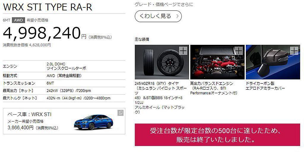 Subaru WRX STI Type RA-R才在日本開賣第一天,限額500輛的數量就全數被預訂一空。 圖/Subaru提供