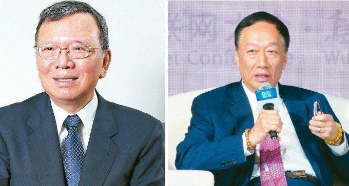中華電董座鄭優(左)、鴻海集團董座郭台銘(右)。 報系資料照