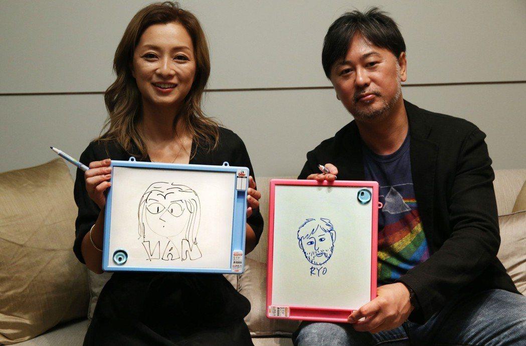 大渡亮和伴都美子拿著對方幫自己畫的肖像做對照。記者林俊良/攝影