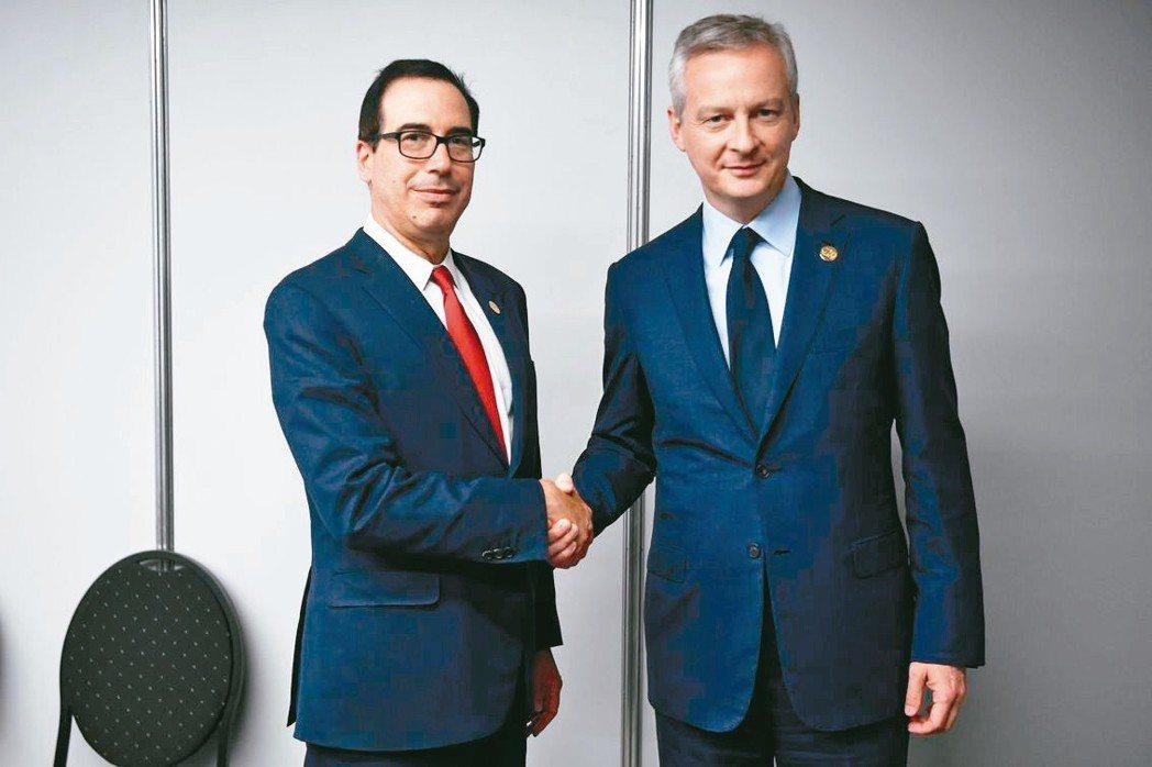 美國財長米努勤(左)、法國財長勒梅爾 法新社
