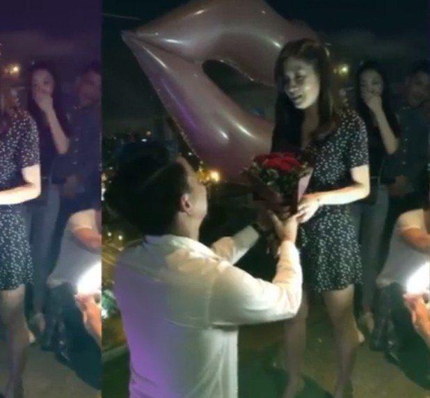 柯有倫(左)下跪求婚,圈外女友感動應允。圖/摘自臉書