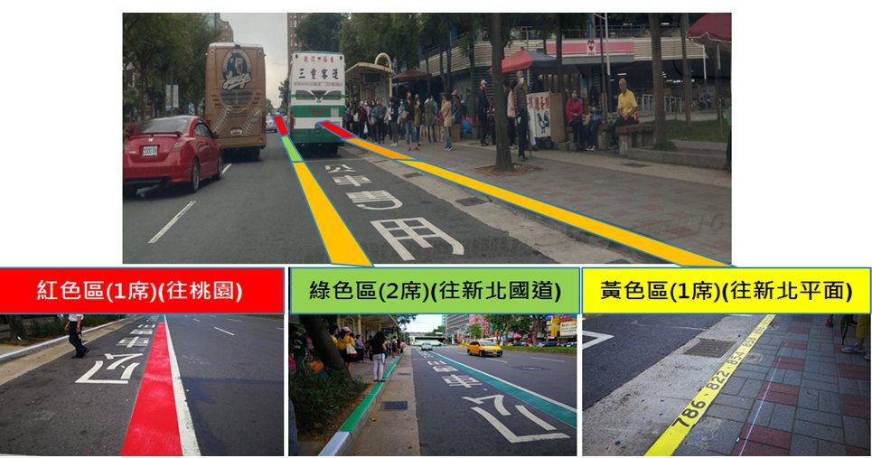 林口長庚醫院公車站位,即日起分區停靠及候車,以黃、綠、紅3色將公車路線分流成3個...