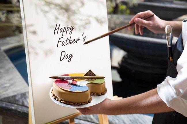 「藝術老爹」父親節蛋糕顏料軟管,打開後可擠出主廚特製杜斯巧克力甘納許。圖/台北君...