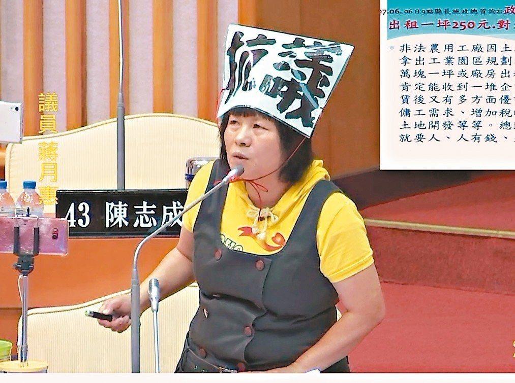 屏東縣議員蔣月惠。 記者翁禎霞/翻攝議會錄影畫面