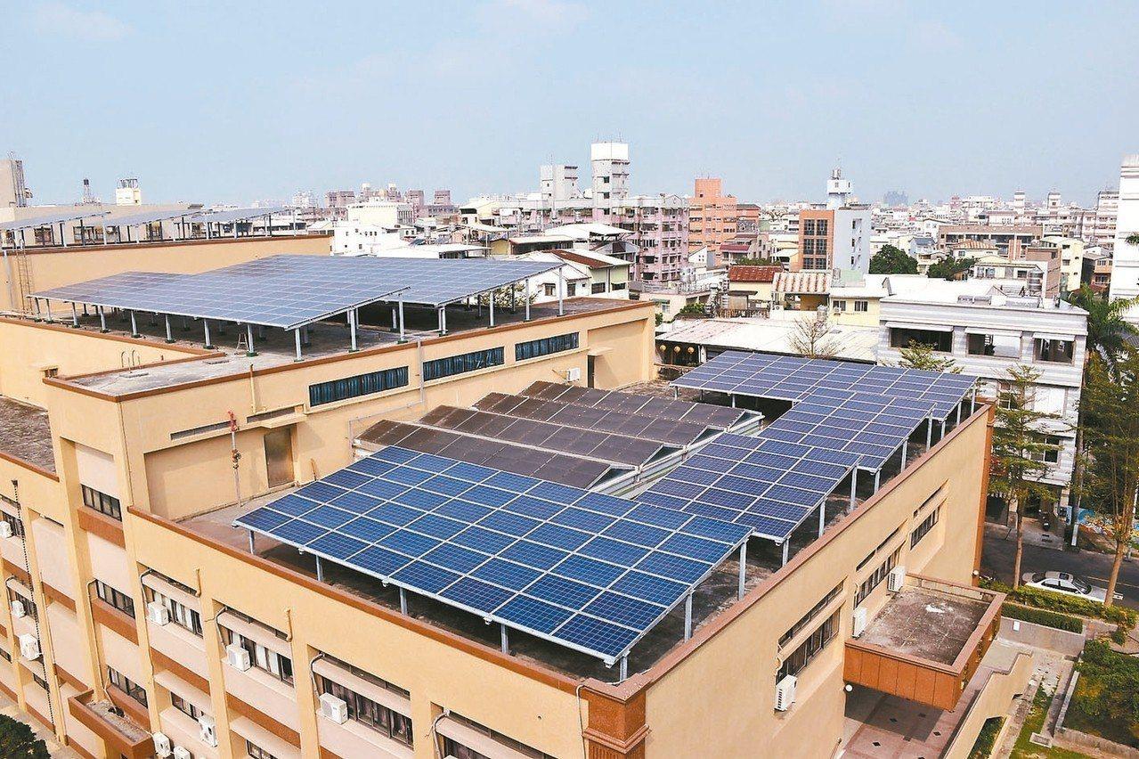 政府鼓勵全民設置太陽能屋頂,公、民營銀行也推出優惠利率貸款專案,圖為屏東大學校舍...