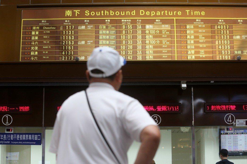 旅客若因台灣發布海、陸颱風警報,導致台鐵車次取消,1年內皆可退票。圖/聯合報系資...