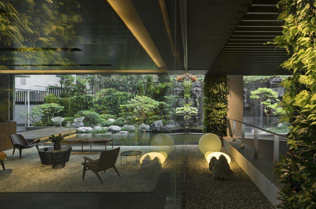 「福樺閱」如畫般的框景的大廳。 圖/福樺建設提供