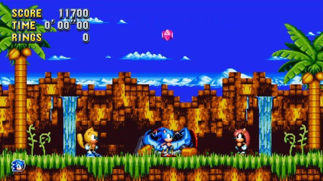 在音速小子狂熱Plus新加入的兩位角色:黃色的飛鼠「雷」與紅色的犰狳「麥迪」,兩...
