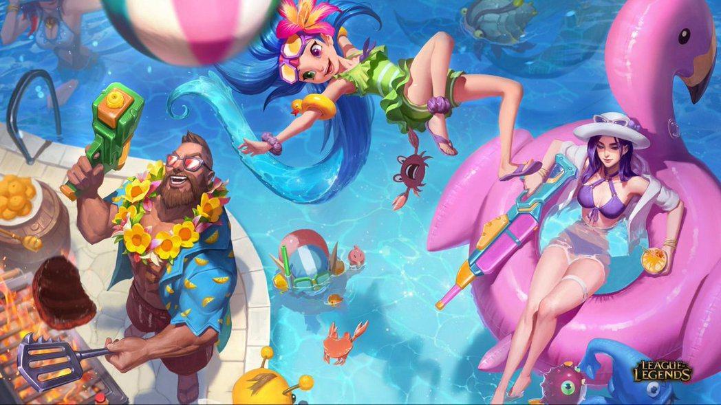 泳池狂歡美術圖 修改前。圖/轉自推特
