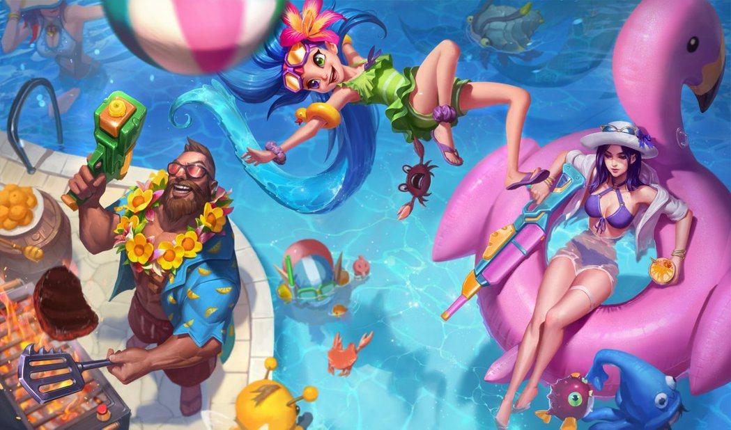泳池狂歡美術圖 修改後。圖/轉自推特