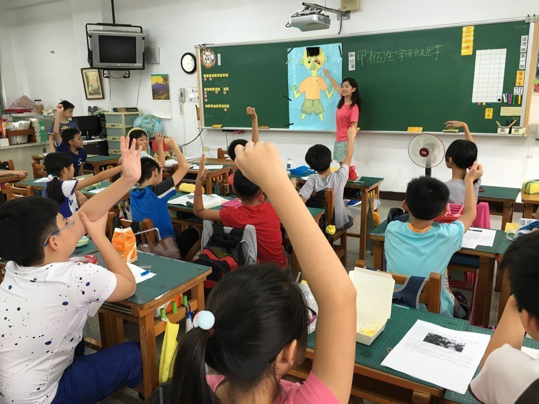 文藻外語大學師資生實習過程,教學活潑化讓國小學生踴躍參與學習。 文藻外大/提供。