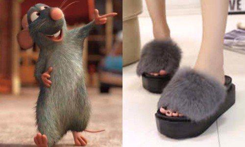 網友認為毛毛拖鞋跟老鼠相似度高達80%啊! 圖片來源/ Dcard