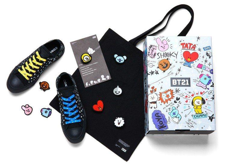特別推出收藏款鞋盒,附贈BT21黑色帆布包、可更替彩色鞋帶,以及8枚BT21刺繡...