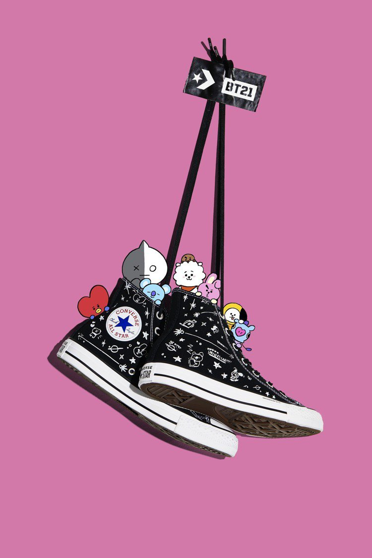 Converse與BT21合作系列限量球鞋共有三款,品牌以經典的Chuck Ta...
