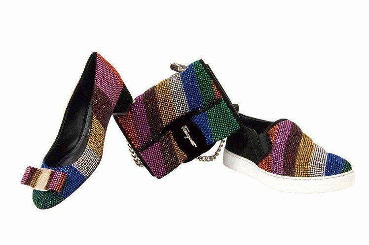 (左至右)VARA彩虹蝴蝶結鞋32,900元,VARA RAINBOW彩虹鍊帶包...