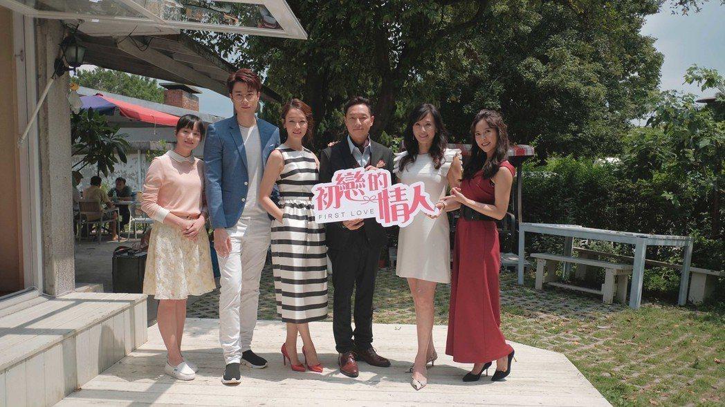 大元(右起)、涂善妮、謝祖武、潘慧如、劉書宏、徐愷玲出席「初戀的情人」在陽明山拍