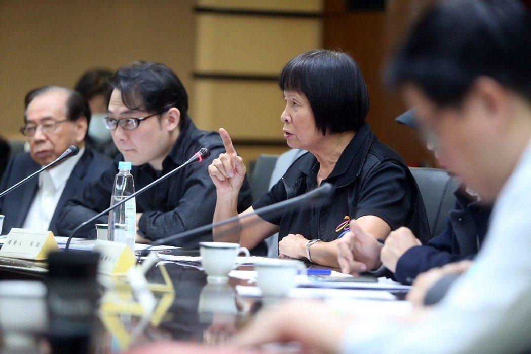 圖為紀政在「2020年東京奧運公投提案」聽證會上陳述意見。 (中央社)