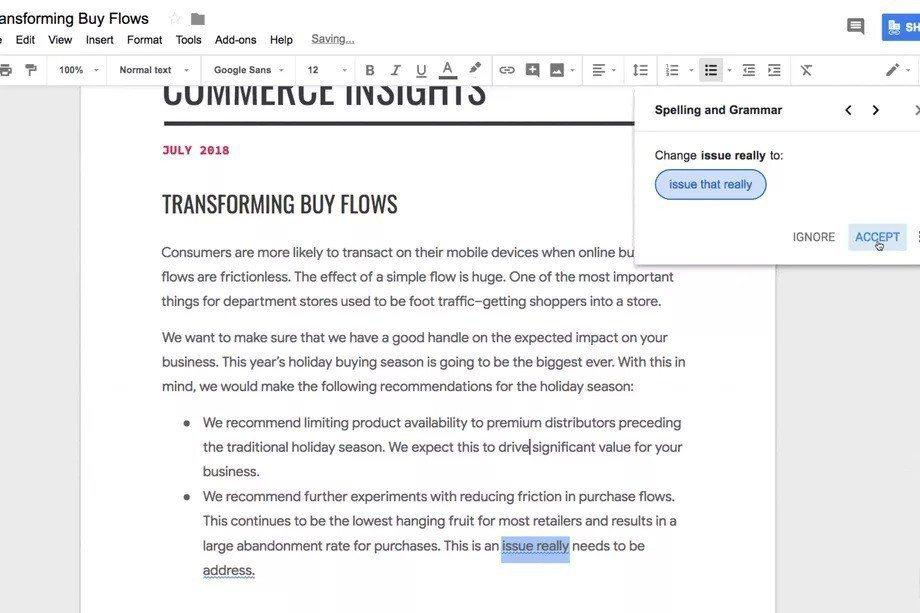 Google將推出文件文法檢查功能,可幫助用戶自動抓出錯字或進行文法校正。 圖/...