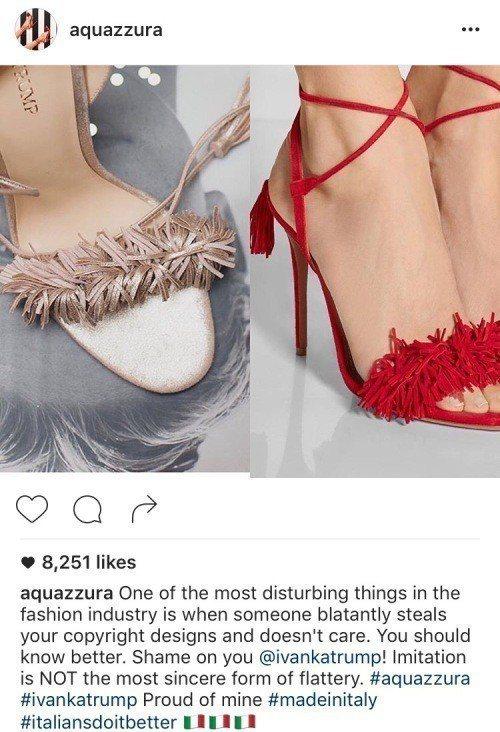 Ivanka Trump曾在2016年被義大利品牌Aquazzura在IG上點名...
