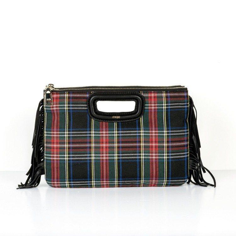 M bag蘇格蘭紋流蘇邊小包,價格店洽。圖/Maje提供