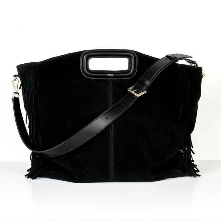 M bag黑色麂皮流蘇邊大型肩背包,價格店洽。圖/Maje提供