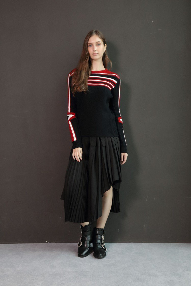 Maje上衣價格店洽、裙子10,440元、鞋子價格店洽。圖/Maje提供