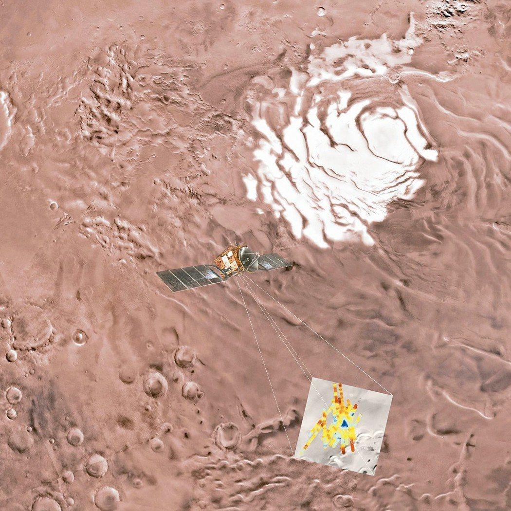 歐洲太空總署發布的火星南極地區可能有液態水示意圖。 (美聯社)
