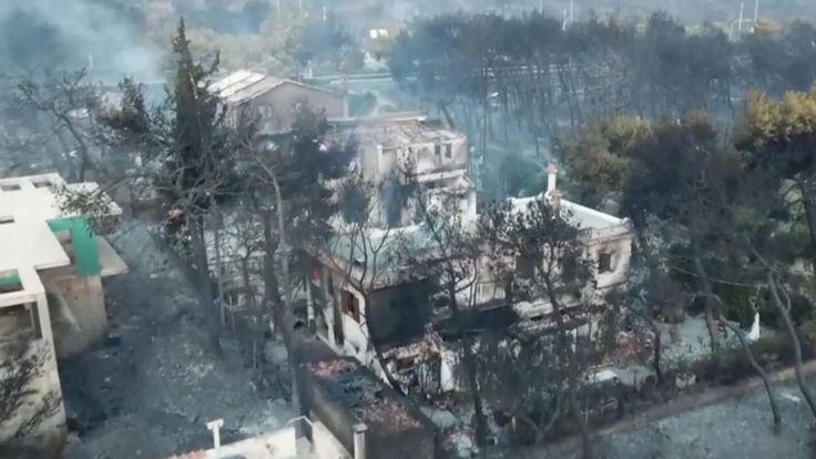 從空中鳥瞰,希臘一處林火被滅後,房屋周遭林木一片焦黑。 (翻攝自網路)