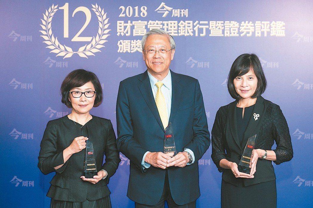 中信銀行取得三個獎項的肯定。左起為:中信銀行個人信託部副總吳靜怡、個人金融執行長...