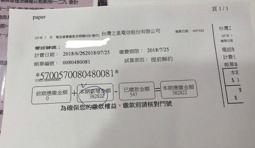 一名女網友申辦電信公司的吃到飽方案,沒想到出國14天回來後竟然收到38萬元的帳單...