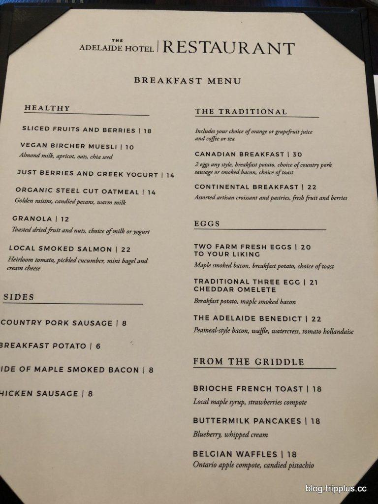 早餐的菜單 圖文來自於:TripPlus