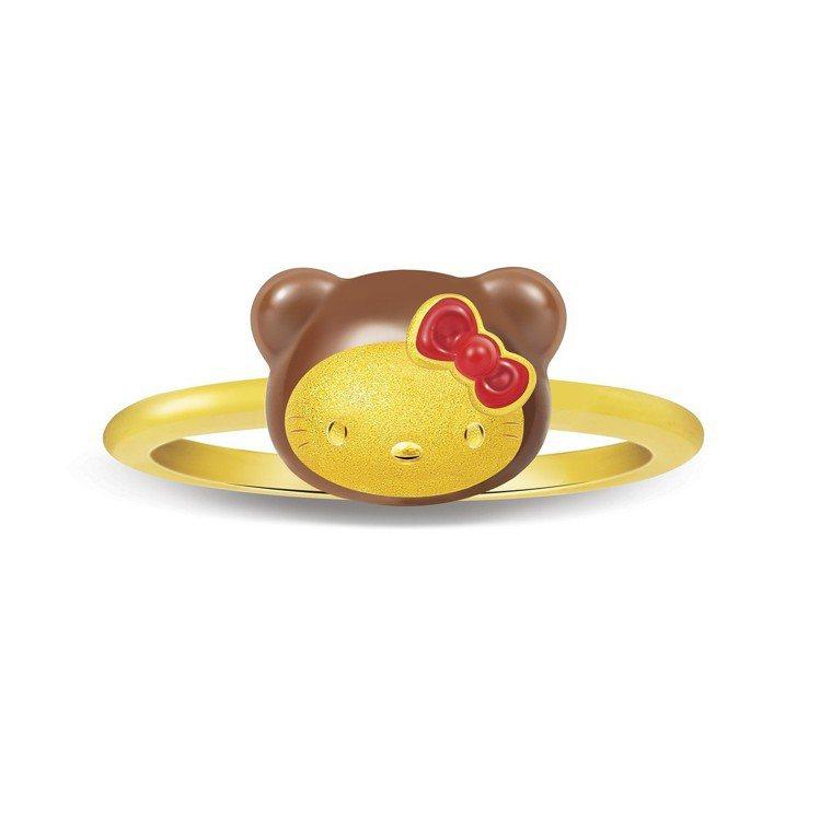 Just Gold Hello Kitty小熊系列戒指,16,000元。圖/鎮金...