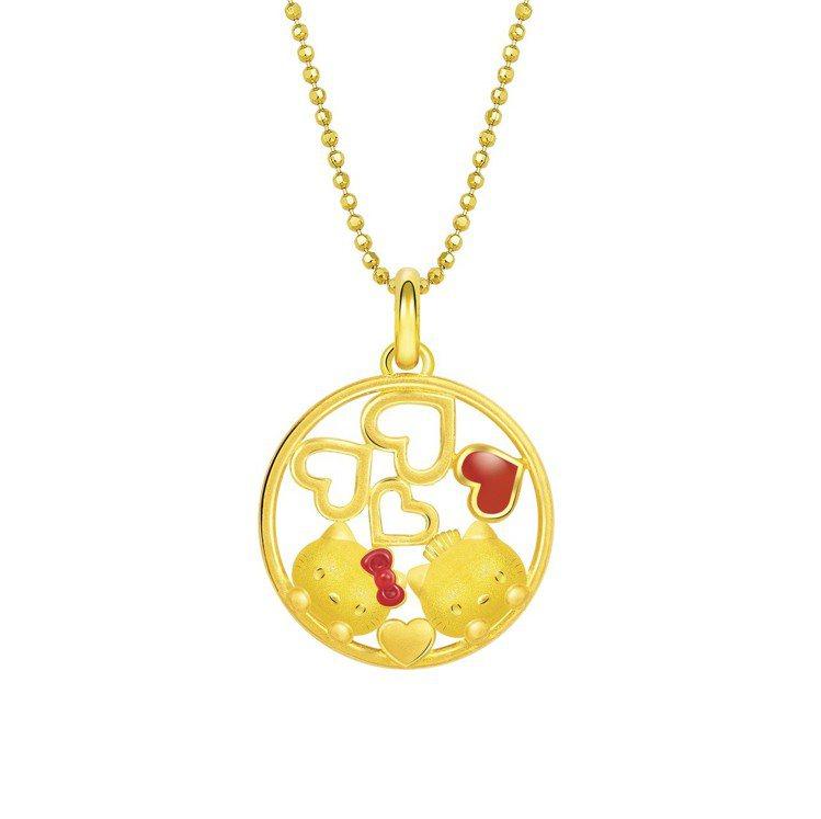 Just Gold Hello Kitty & Daniel圓形吊墜(不含鍊) ...