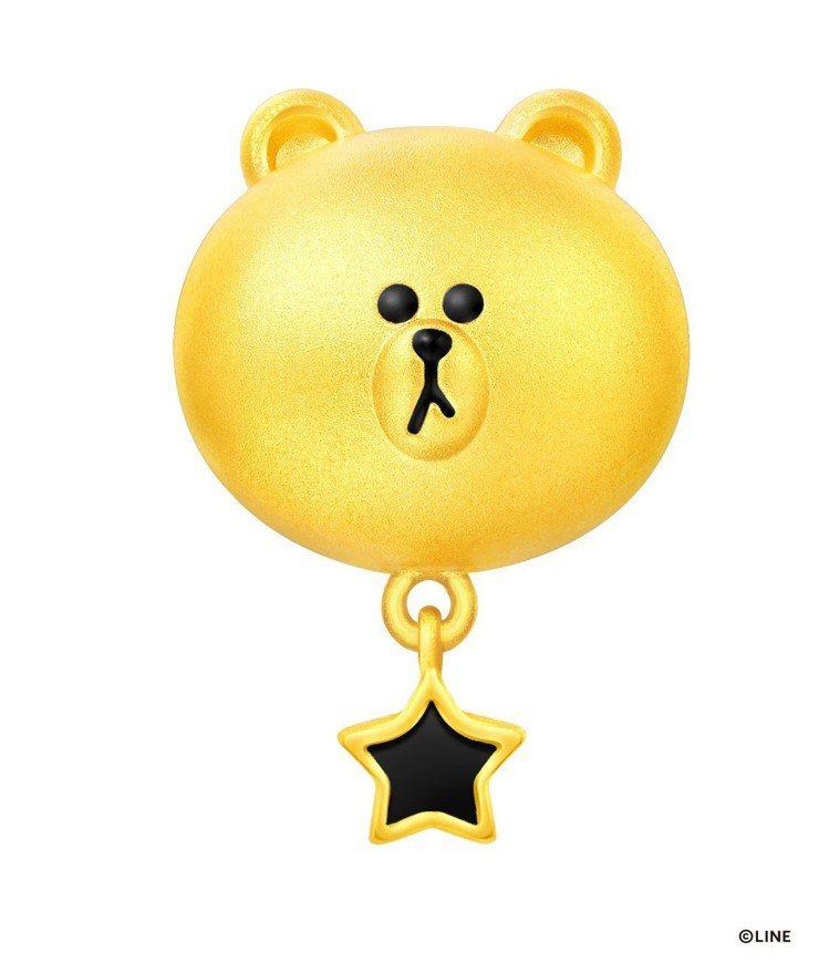 周大福LINE FRIENDS 系列熊大黃金串飾/吊墜 (附手繩),7,000元...