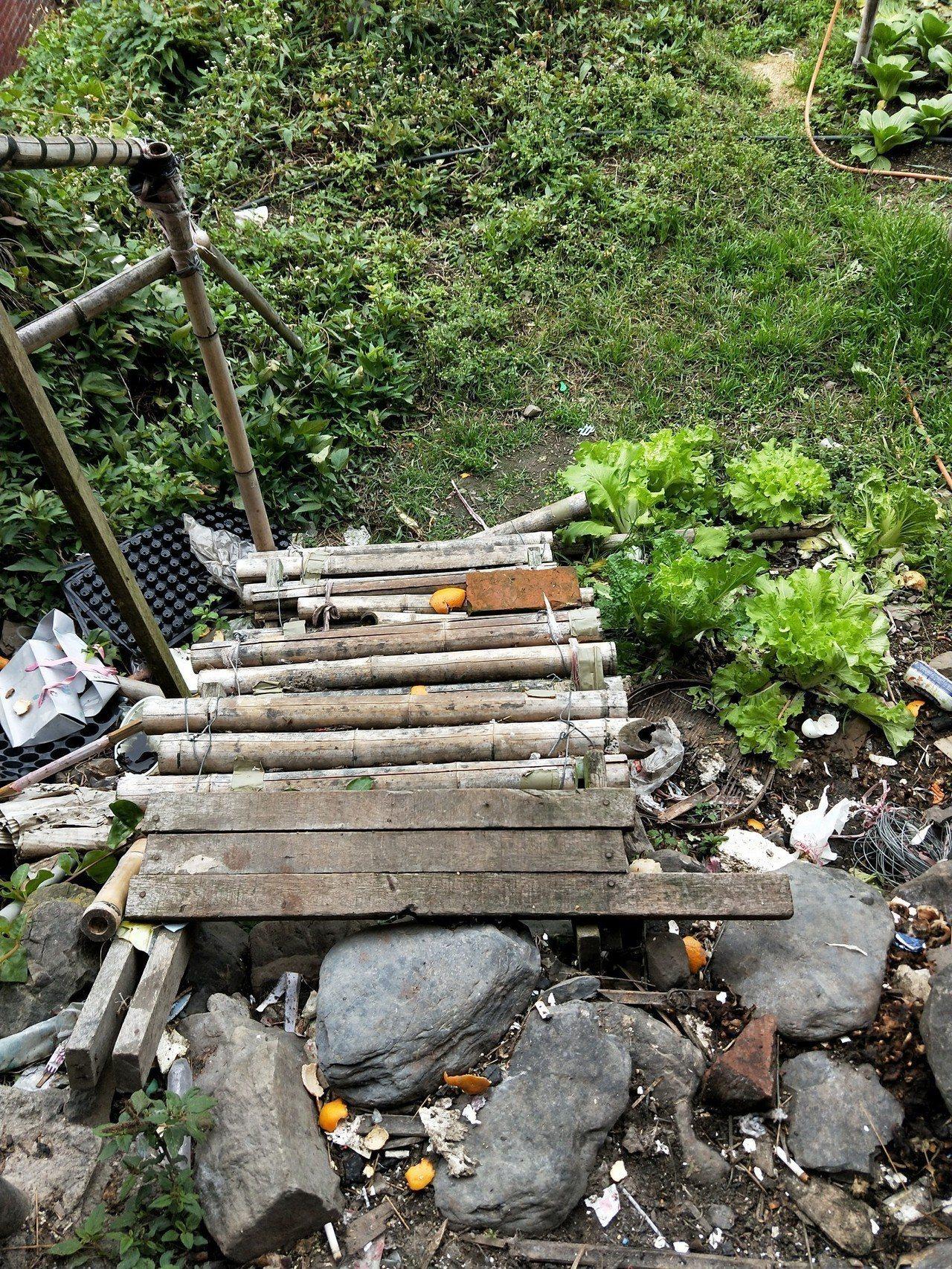 新竹縣五峰鄉風奶奶家40年舊屋,原本後院通往菜園的木梯已經破爛不堪,且對於行動不...