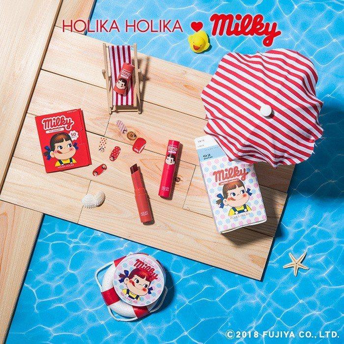讓少女心大噴發的HOLIKA HOLIKA X不二家Peko聯名彩妝系列。圖/H...