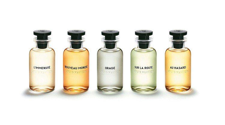 路易威登首批男性香水系列的5款獨特香調,在肌膚表面喚醒男性內在的特質。 圖/路易...