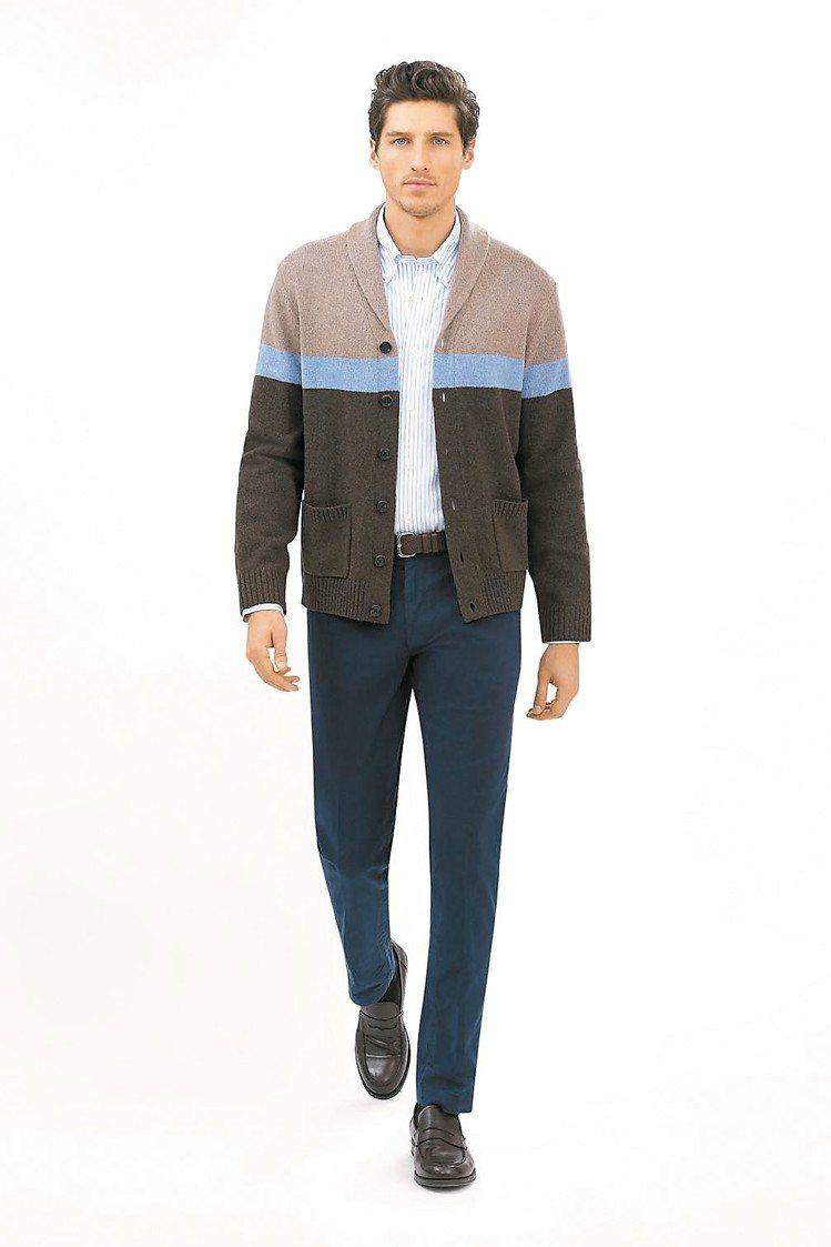 季新款開襟毛衣外套約8,690元、褲子約6,490元。 圖/Brooks Bro...