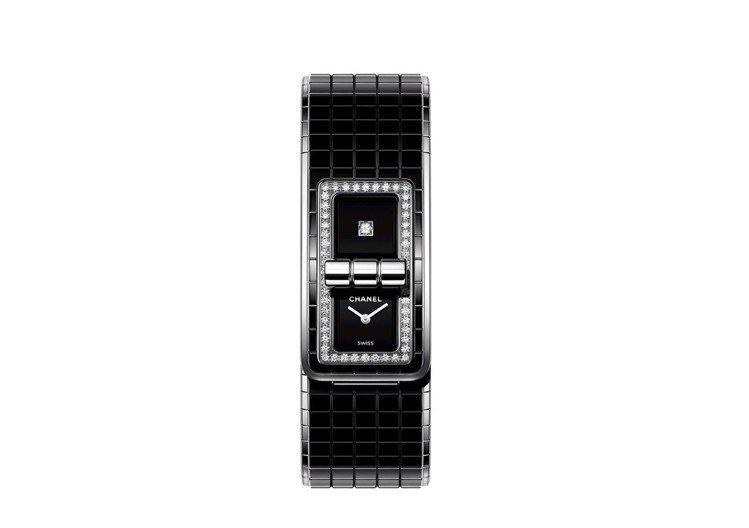CODE COCO腕表,38.1 x 21.5 毫米精鋼表殼鑲嵌52顆明亮式切割...