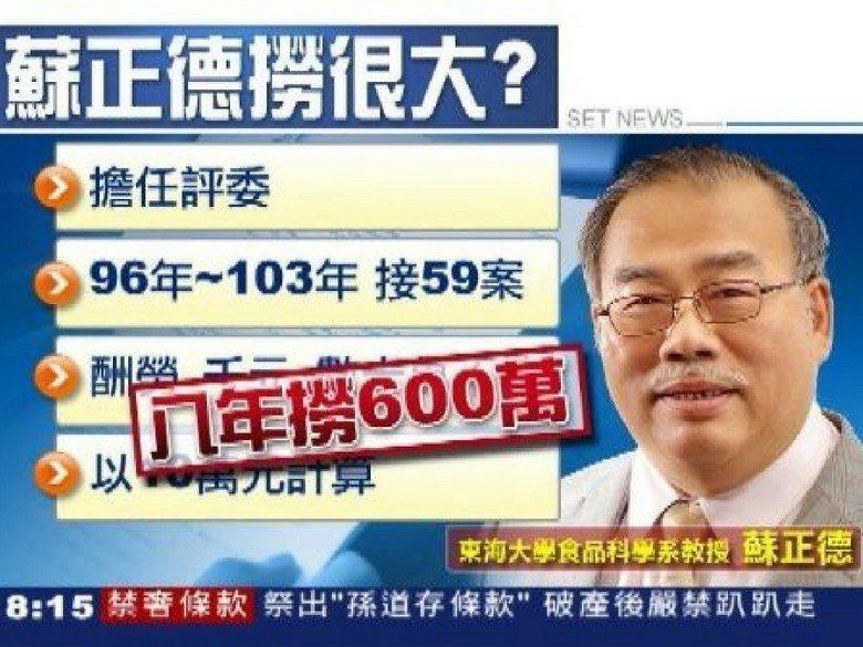 2014年9月9日,三立新聞台播出「蘇正德大口吞餿水油 爆教授兼評委『8年撈60...