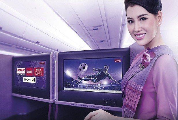 機上即時影音直播,讓精彩比賽轉播、重要新聞不漏接。圖/泰航提供