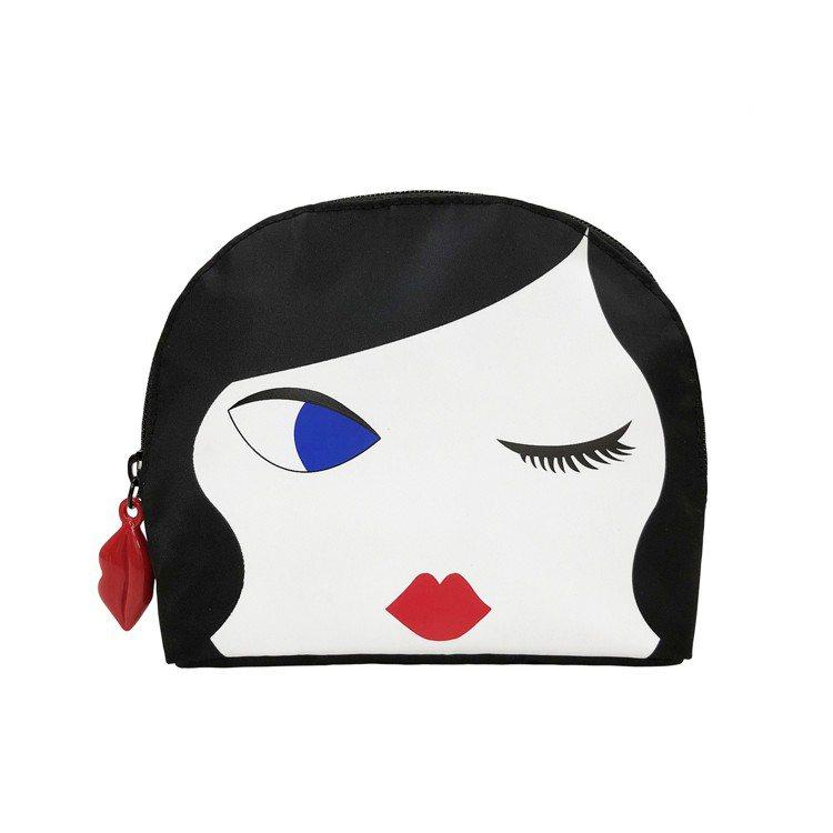 集滿6點+399元換購的LULU化妝包眨眼款。圖/LULU GUINNESS提供