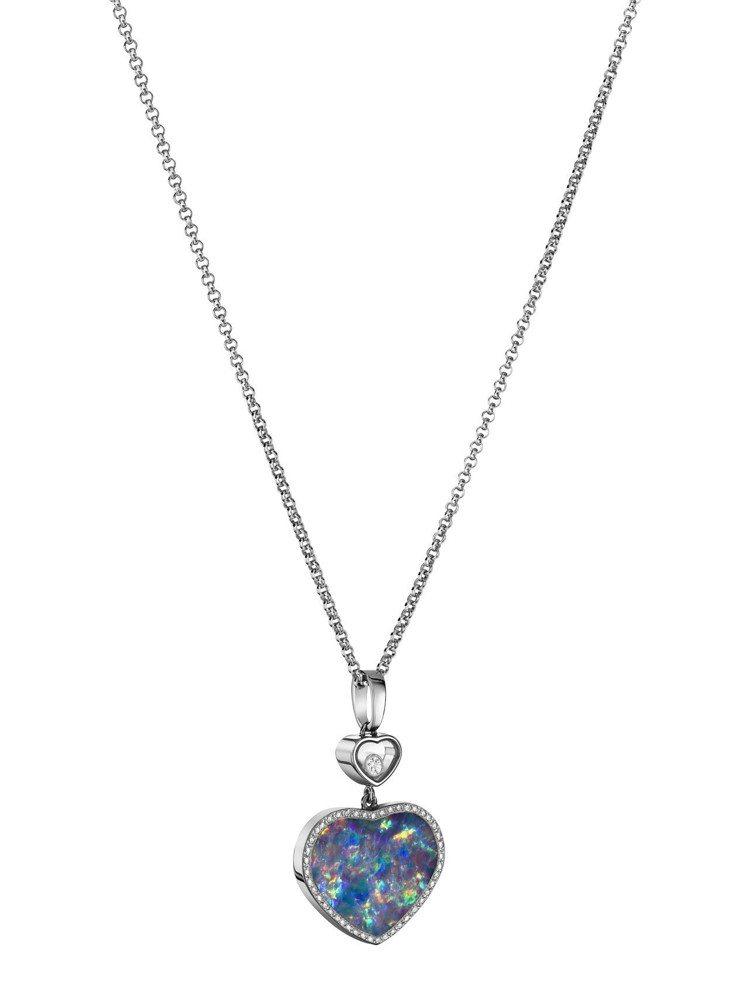 蕭邦Happy Hearts系列蛋白石項鍊,18K白金項鍊鑲嵌心型蛋白石與1顆滑...