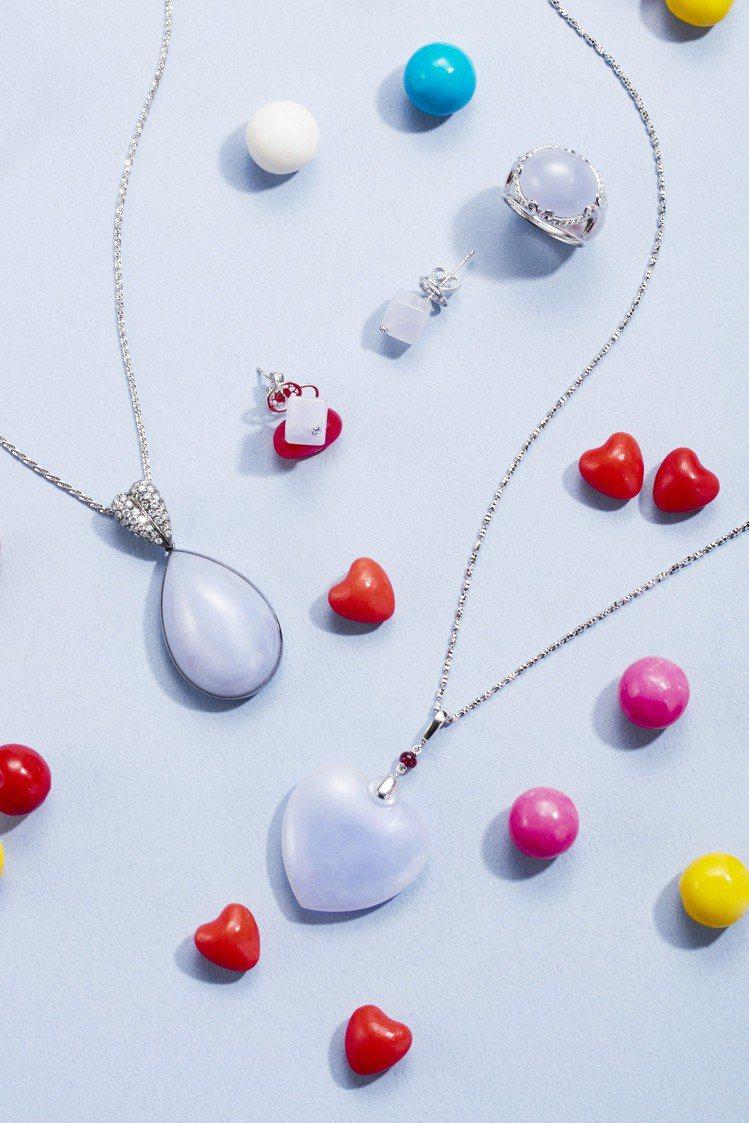 玉世家針對七夕情人節推出一系列甜美的紫羅蘭翡翠珠寶。圖/玉世家提供