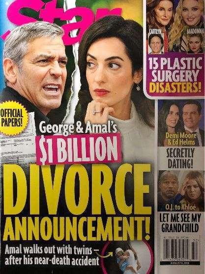 喬治柯隆尼被傳要離婚,八卦雜誌還暗示已取得申請文件。圖/摘自Star Magaz...