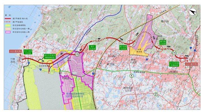 國道1號甲線計畫路廊示意圖。 圖/截取自交通部高速公路局