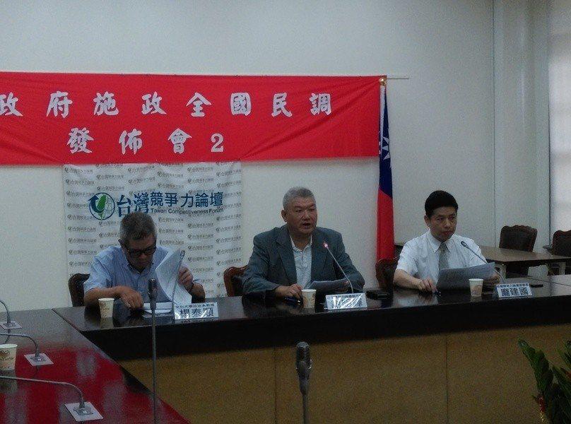 台灣競爭力論壇30日公布最新民調顯示,64.1%民眾不滿意蔡英文施政表現,超過六...